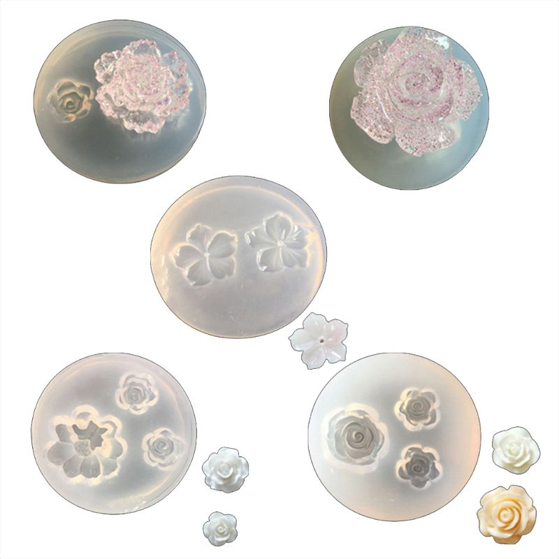 Free Shipping 5Pcs Mini Flower Resin Silicone Molds Jewelry Making Tools Casting Molds For DIY