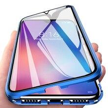 Çift taraflı temperli cam telefon kılıfı için Xiaomi Mi A3 A3Pro A3Lite manyetik adsorpsiyon Metal telefon arka kapak MiA3 Pro lite