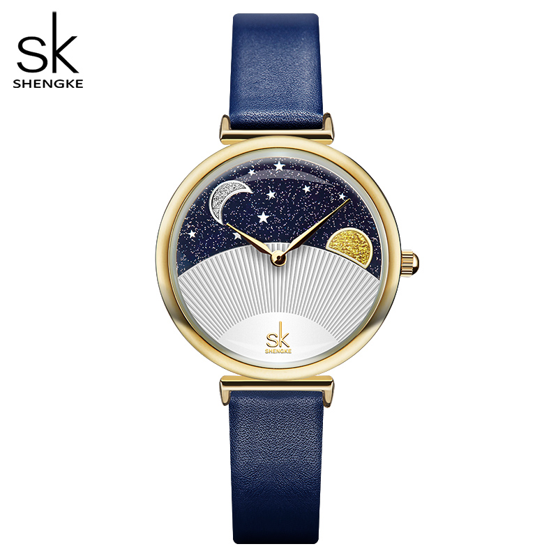 Shengke Women Fashion Blue Quartz Watch Lady Leather Watchband High Quality Casual Waterproof Wristwatch Gift For Wife With Box