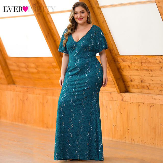 Plus Size Sequined Lace Evening Dresses Ever Pretty EP00704 Deep V-Neck Ruffles Sleeve Sexy Mermaid Dress For Party Abendkleider 2