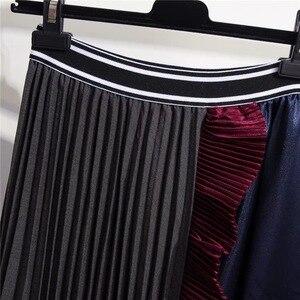Image 3 - Женская юбка с оборками Marwin, зимняя Мягкая юбка контрастных цветов в стиле ретро, до середины икры, в европейском стиле, на Рождество