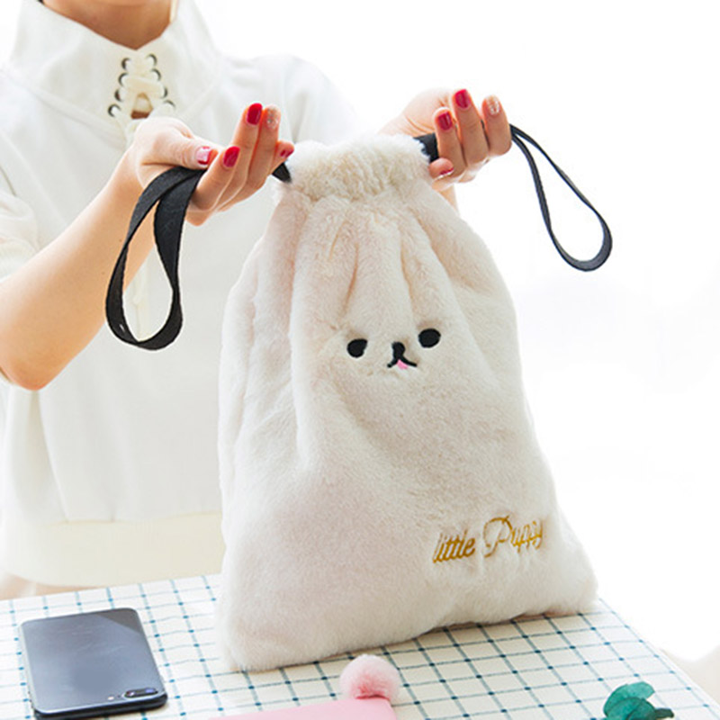 New Style Cute Cosmetic Bag Cartoon Plush Dog Girl Mini Bag Travel Pouch Drawstring Makeup Tools Organizer