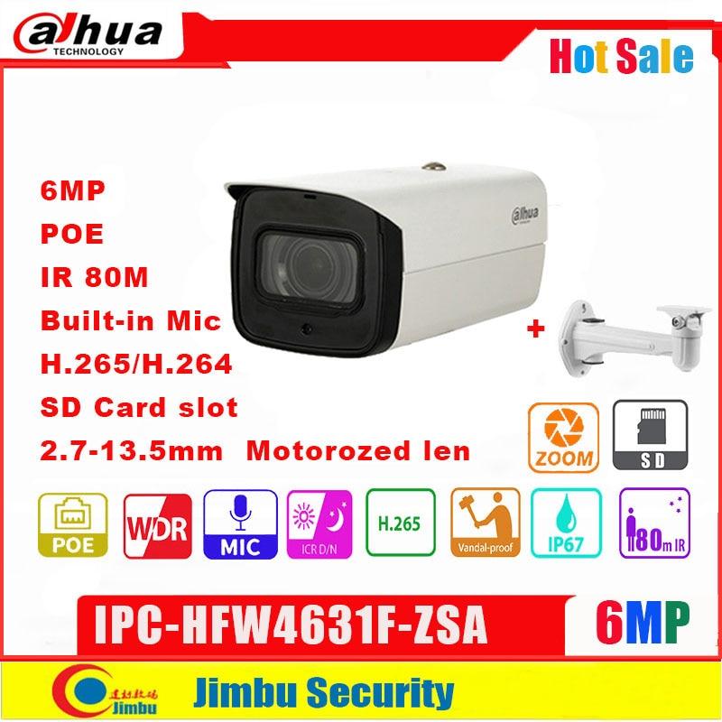 Dahua 6MP IP CCTV Camera Varifocal Motorized Lens 2.7-13.5mm  IPC-HFW4631F-ZSA  POE IP67 IR80m Security Camera Built In MIC