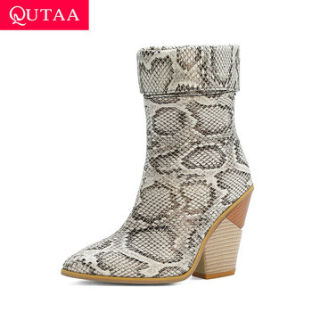 QUTAA 2021 Autumn Winter Ankle Boots Square High Heel Slip on Women Shoes PU Leather Snakeskin Pointed Toe Short Size34-43 - discount item  47% OFF Women's Shoes
