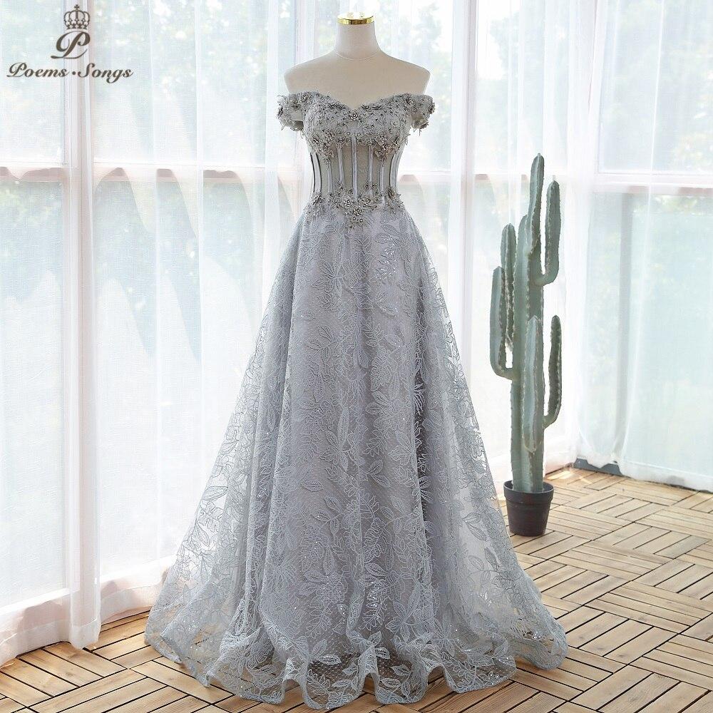 Elegante lantejoulas rendas cinza flores vestido de noite 2020 vestidos de baile vestidos de noite vestidos de festa robe de soirée de mariage