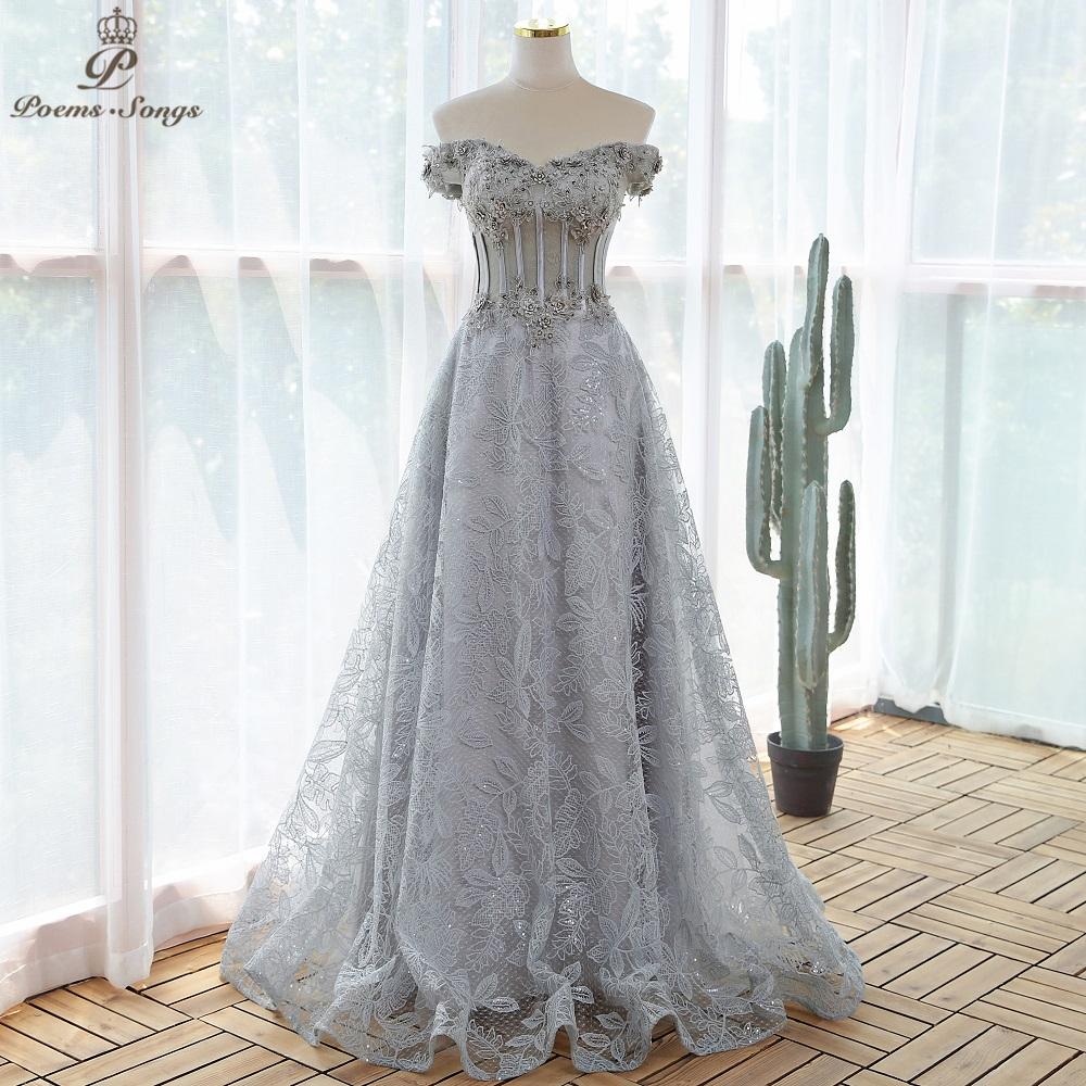 Elegant sequin lace gray flowers Evening dress 2021 prom dresses evening gowns vestidos de fiesta robe de soirée de mariage