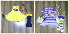 Primavera/verão roupas de bebê vestido listra algodão baleia unicórnio boutique roupas na altura do joelho colar meias arco e bolsa