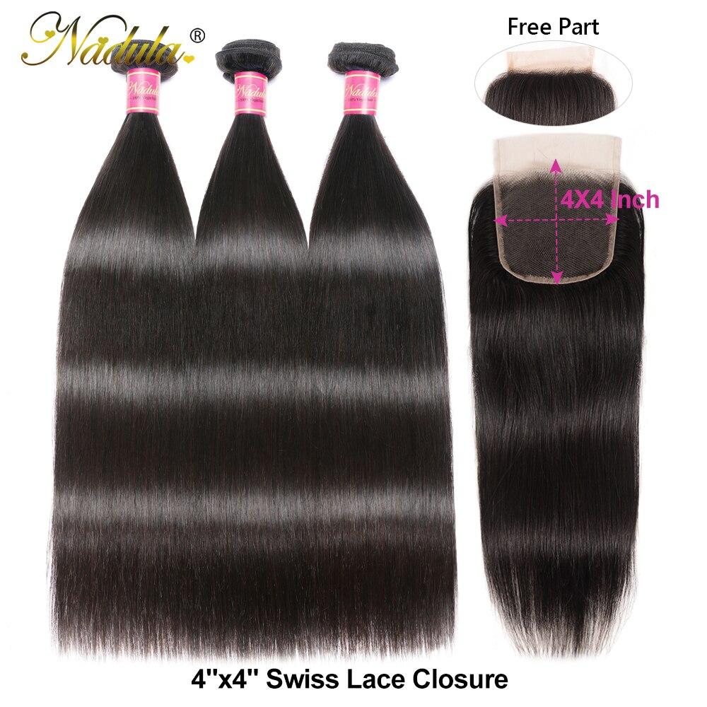 Nadula  Straight Hair Bundles With Closure 3 Bundles Hair Straight  Bundles With Closure 3