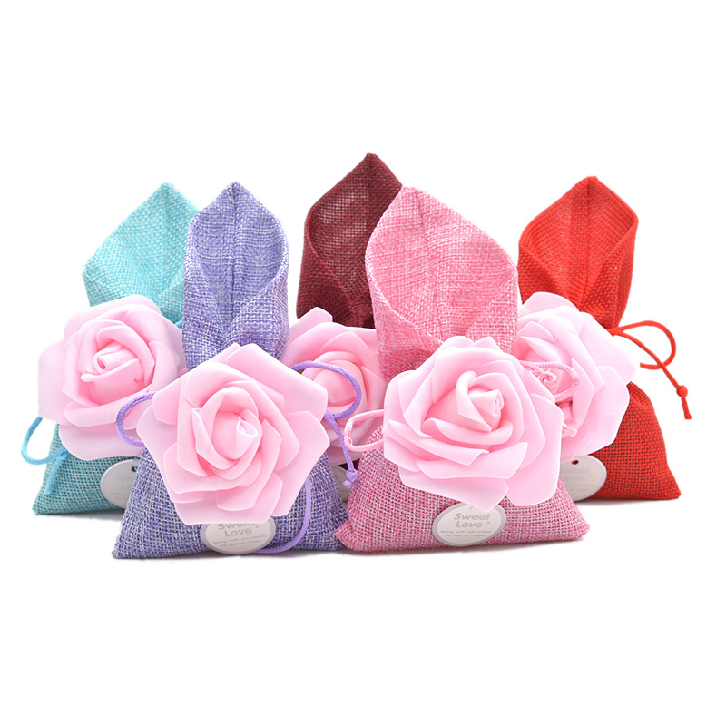 50pcs/lot 10x17cm Rose Flower Linen Drawstring Storage Bag For Wedding Gift Candy Chocolate Packing Bags