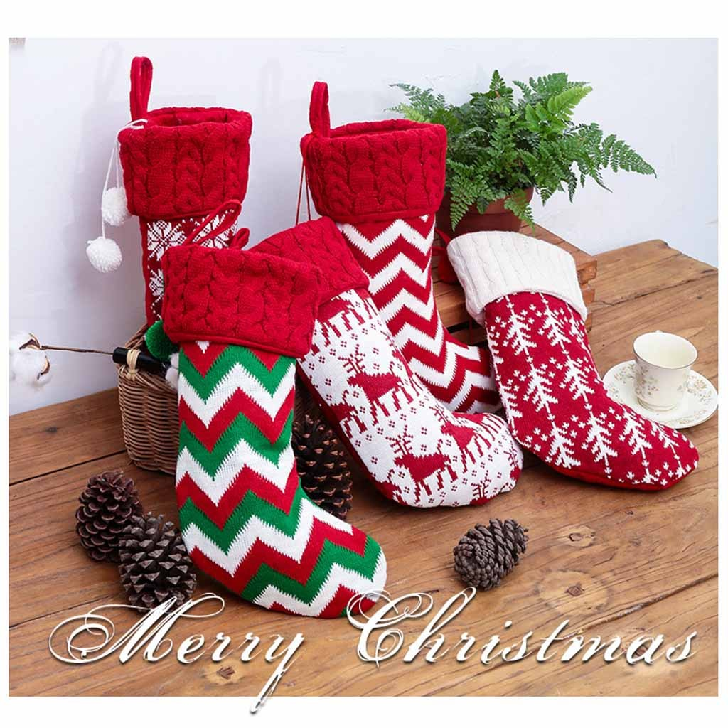 US $5.15 50% OFF High Quality New Christmas Decorations Knitted Socks  Christmas Stockings Children\'s Gift Bags Support Wholesale Dropshipping on  ...