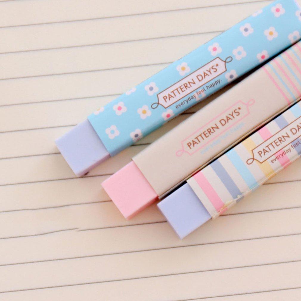 New Cute Kawaii Heart Flower Rubber Erasers Lovely Stripe Pencil Eraser For Kids Gift Creative Korean Stationery Novelty ItemN