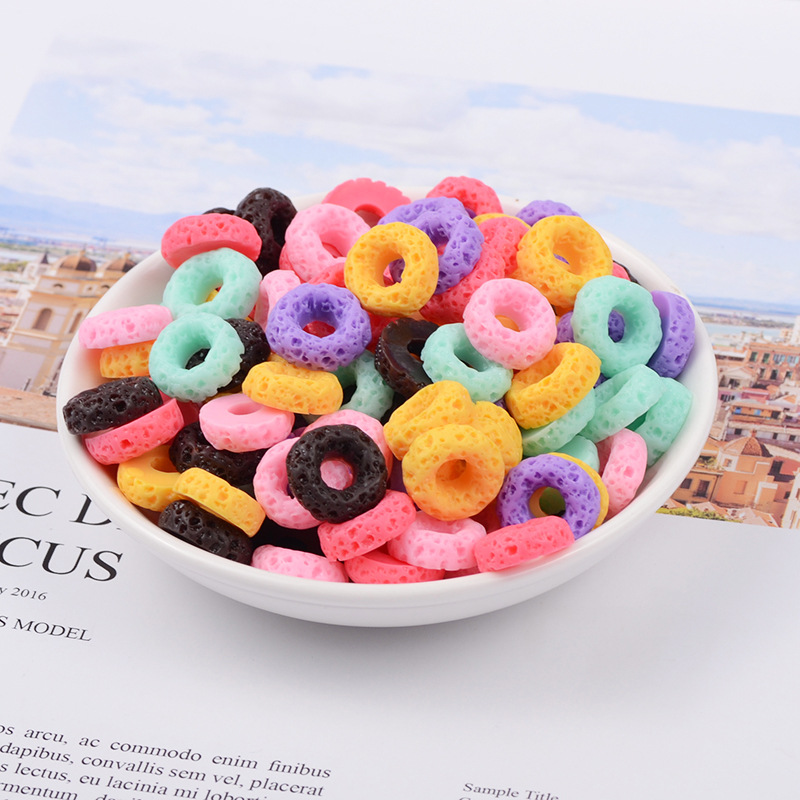 New Miniature Mini Food Fruits And Vegetables Kitchen Toys Resin Fake Food Mini Colorful Donut Toy For Doll Children Kids Toys