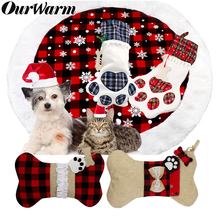 OurWarm Red Plaid Pet Christmas Stocking Dog Cat Gift Bags Xmas Tree Ornaments New Year Decoration navidad 2019