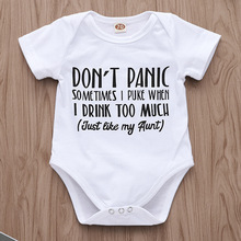 Baby Bodysuit White Onesie Dont Panic Just Like My Aunt Letters Print Bodysuits Girl Clothes Tiny Cottons Summer