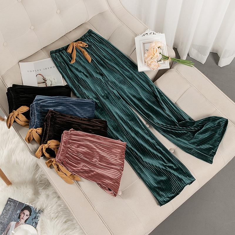 2020 Autumn Winter New Velour Bottoms Sleepwear Women Pajamas Elastic Waist Casual Nightwear Velvet Long Loose Sleep Pants