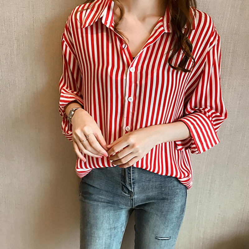 Women Vintage Striped Print Shirt Lapel Casual Single-breasted Long Sleeve Blouses Chiffon Turn- down Collar Shirts