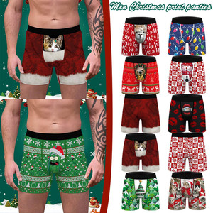 Men Male Christmas Print Underwear Men boxers Plain Cotton Boxer Shorts Panties Brand Clothing Boxer U Convex Pouch