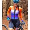 Das mulheres longas calças Ciclismo Skinsuit Maillot Ropa ciclismo Triathlon curto de Manga comprida Casal Bicicleta Jersey define Macacão 12