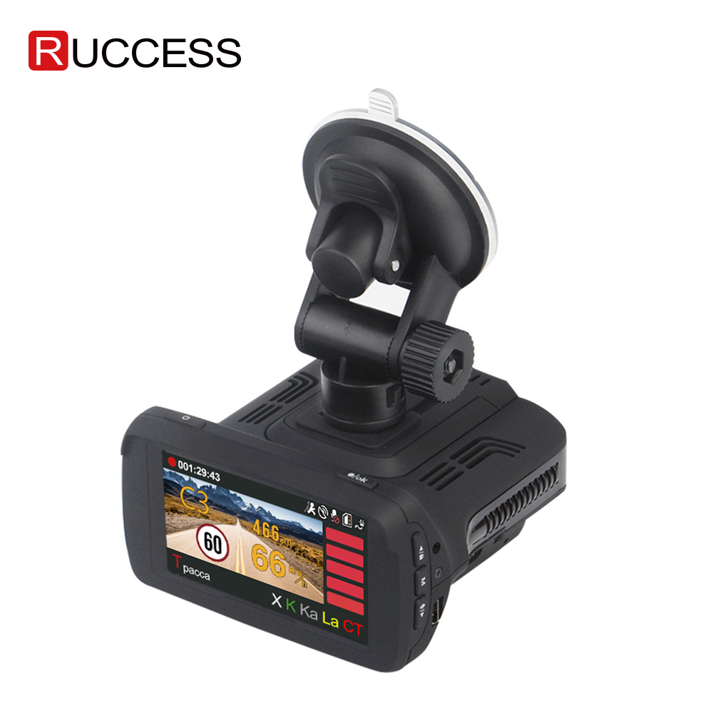 Ruccess <font><b>GPS</b></font> <font><b>Radar</b></font> <font><b>Detector</b></font> for Russia Ambarella A7LA50 <font><b>3</b></font> <font><b>In</b></font> <font><b>1</b></font> <font><b>Car</b></font> <font><b>DVR</b></font> Camera 1296p Video Recorder FHD 1080p Anti <font><b>Radar</b></font> Speedcam image