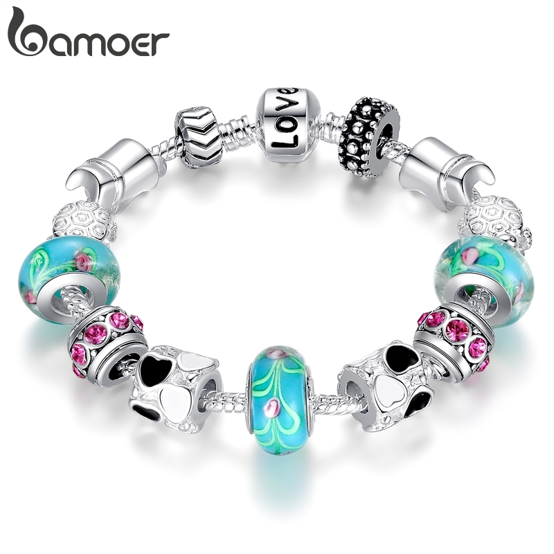 bamoer Hot Sell Silver Plated Charm Bracelet Bangle for Women with Murano Beads Fashion Love DIY Jewelry PA1019|gift baskets for weddings|giftgift website - AliExpress