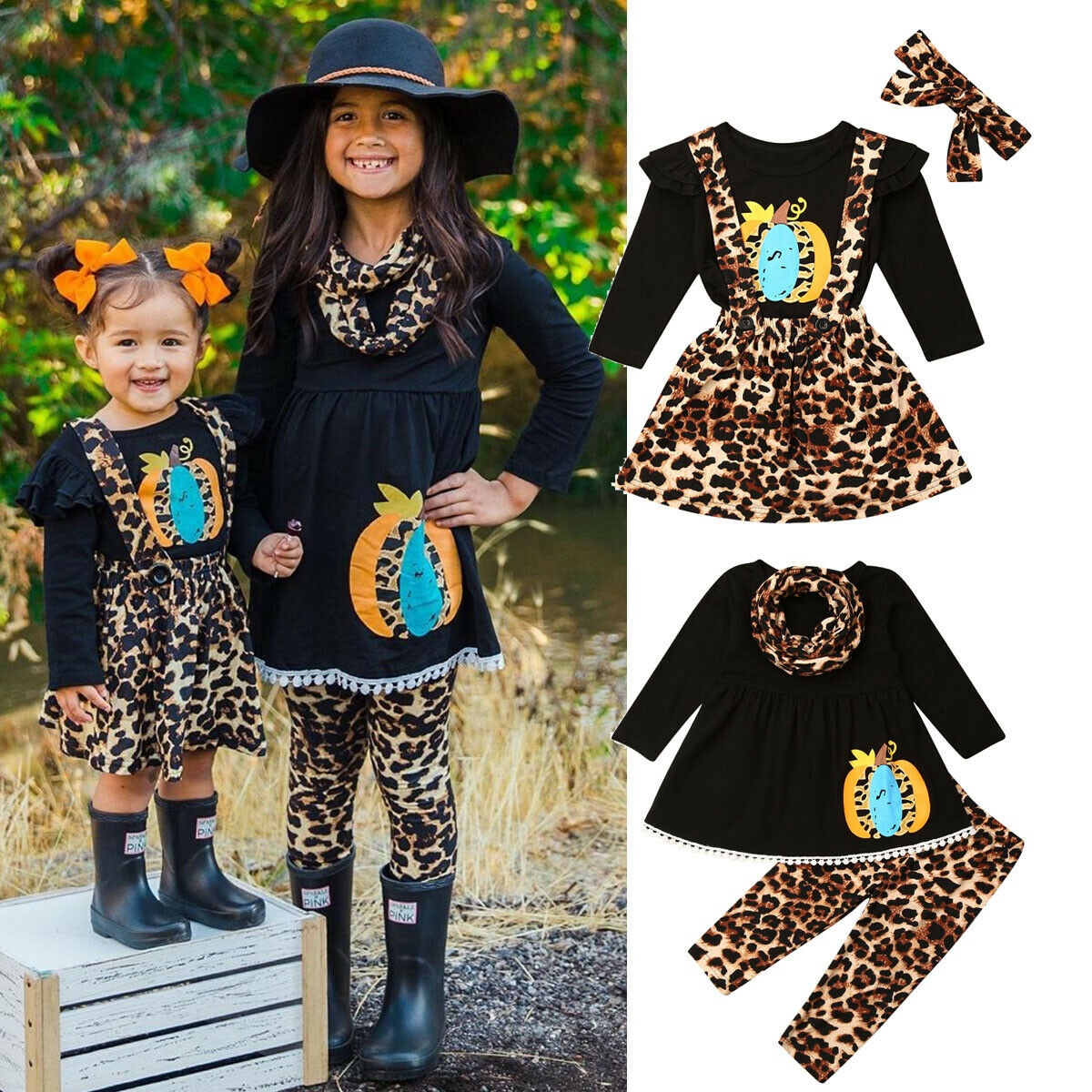 2PCS Toddler Kids Baby Girls Outfit Long Sleeve Ruffle Lace T-Shirt+Suspender Skirt Overalls Set