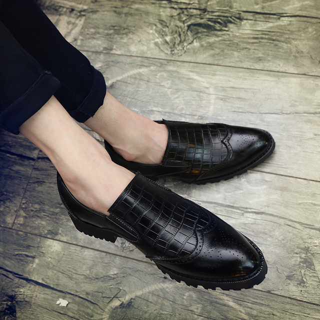 Italian Mens Dress Shoes loafer Luxury Leather Shoes Fashion slip on brogue Vintage Retro Party Formal Business Shoes for Men 6