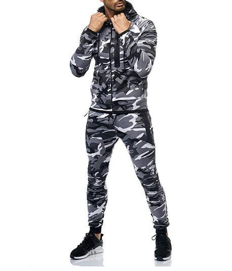 2019 Men Sports Camouflage Set Arm Pleated Fitness Casual Wear K117