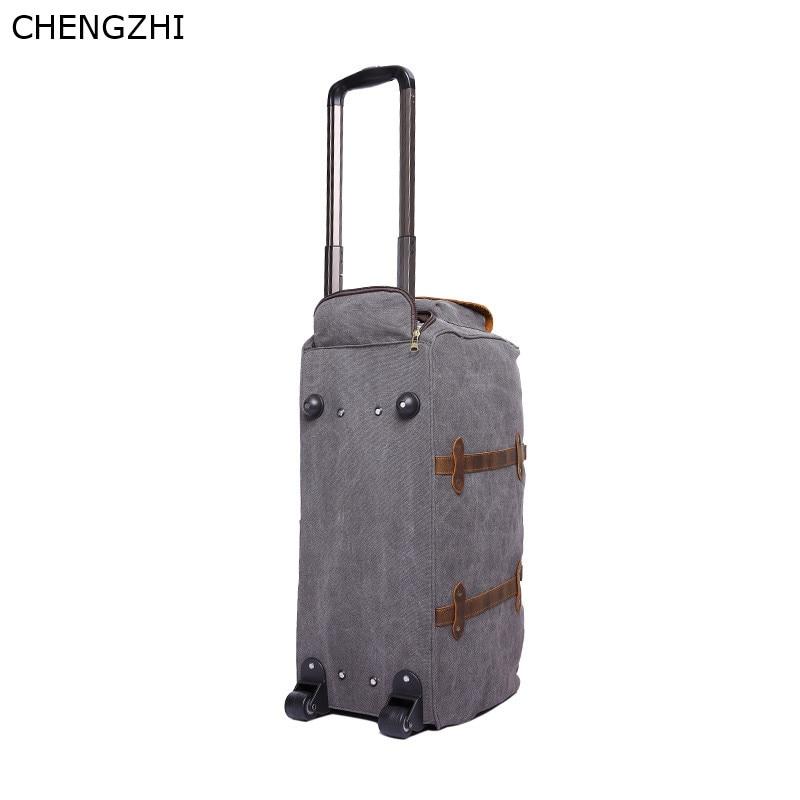Bolso de viaje con ruedas de cuero y Caballo loco para hombre, bolso de mensajero portátil retro multifunción, bolso de viaje de lona para hombre - 5