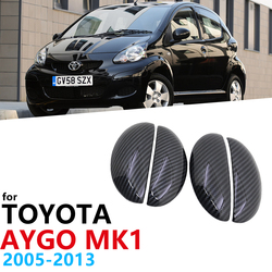 Black Carbon Fiber Door Handles Cover Trim Set for Toyota Aygo MK1 2005~2013 Car Accessories Stickers Car Protector Styling 2006