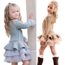 Girls Sweater Dress Autumn Winter Tutu Princess Dress For Girls Long Sleeve Thermal Pullover Knitted