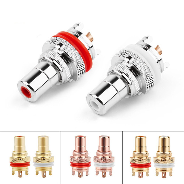 RCA Connector Female Socket Chassis Speaker Connectors Bright/Dumb/Rhodium Plated Copper Jack 32mm HiFi White Red Audio Jack