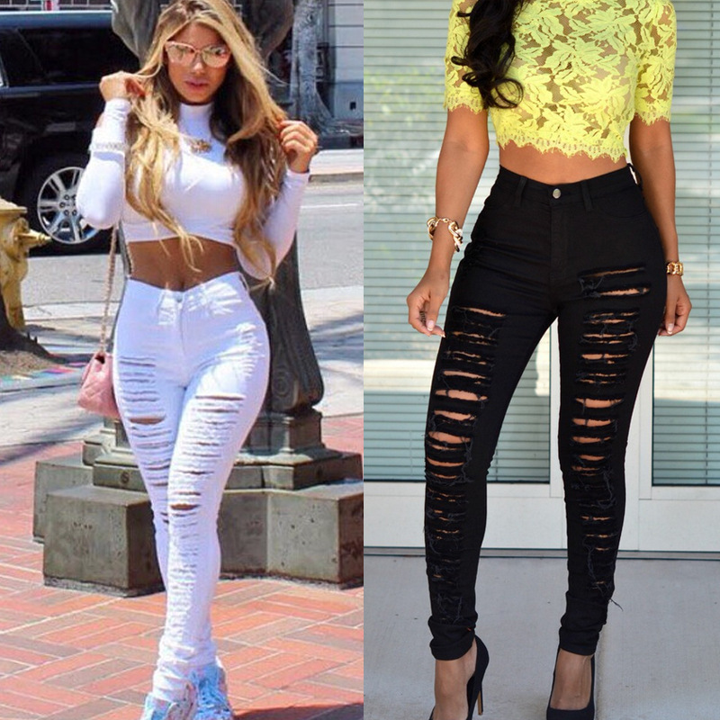 Shredded Jeans Women's Trend To Wear Elastic White Black Sexy Pants for Women Clubwear Distressed Jeans Calsas Jeans Feminina