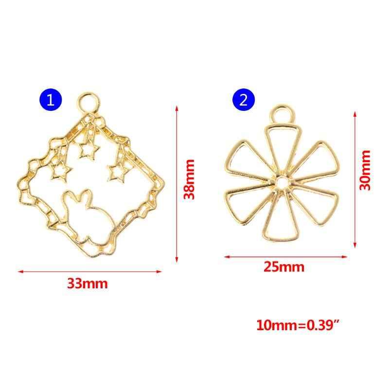 5 ชิ้น/เซ็ตกรอบโลหะกระต่ายสัตว์ดอกไม้ทองประณีต Hollow UV เฟรม DIY เครื่องประดับอีพ็อกซี่เรซิ่นหัตถกรรมสแควร์ Handmade