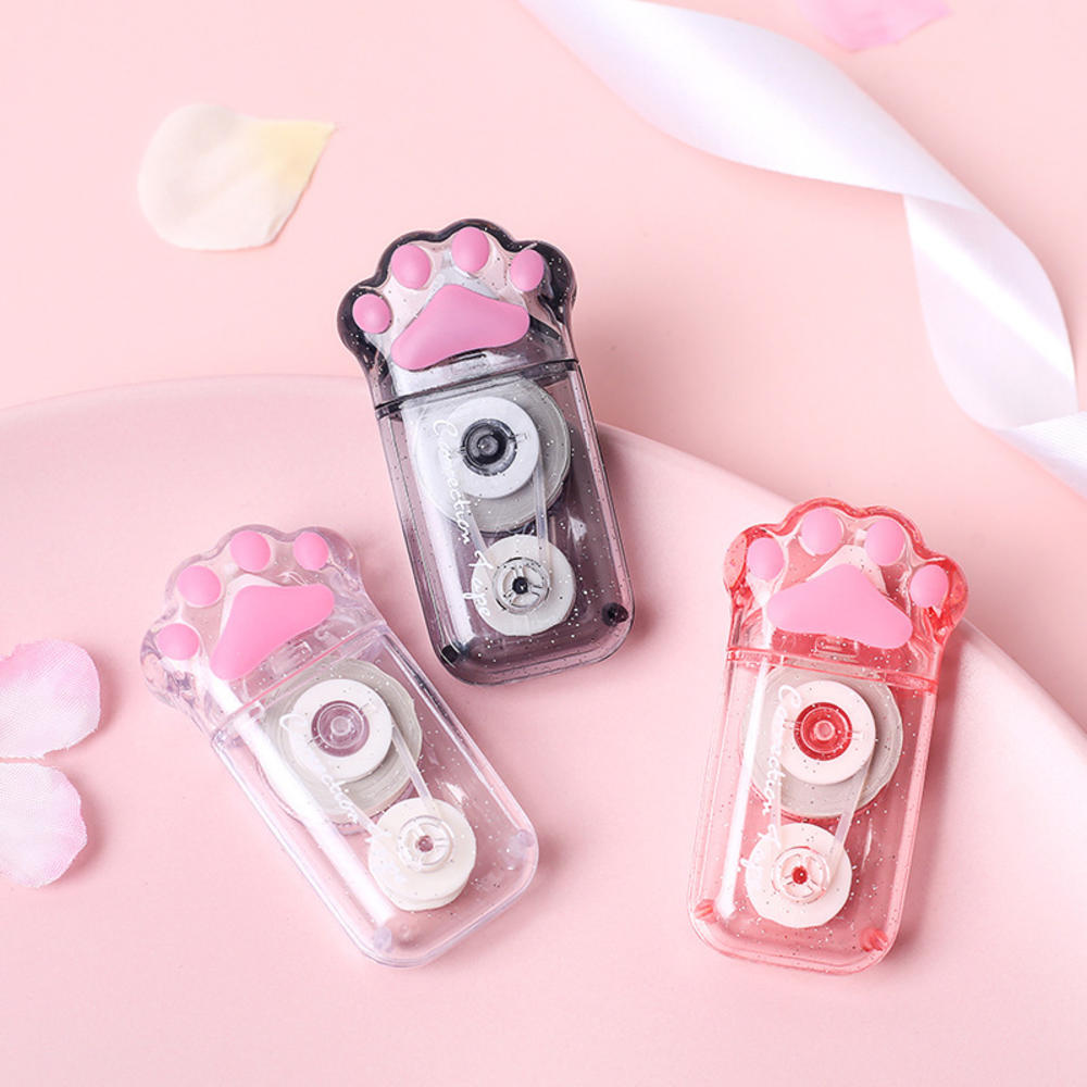 1PC Cute Cat Paw Pink Black Correction Tape Transparent Shell Stationery School Office Supplies Color Random