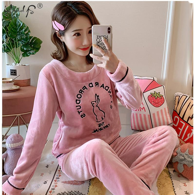 Winter Pajamas Set Women Sleepwear Warm Flannel Long Sleeves Pajamas Pink Cute Animal Homewear Thick Home Suit Cartoon Pyjamas
