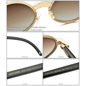 Image 3 - 2020 Nieuwe Hoge Kwaliteit Mannen Ronde Zonnebril Merk Designer Luxe Diamant Weelderige Zonnebril Voor Vrouwen Buffelhoorn Bril