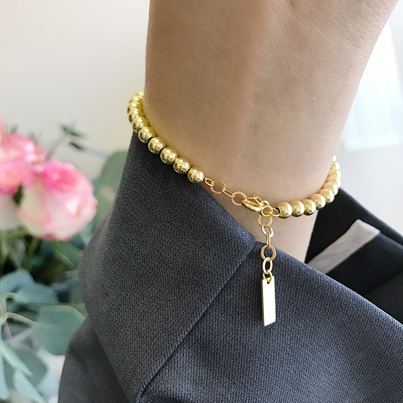 Silvology Gold Color Round Bead Bracelets 925 Sterling Silver High Quality Elegant Bracelets for Women 925 Festival Jewelry Gift