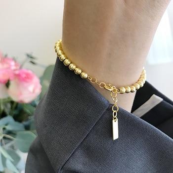 sa silverage 925 sterling silver round bracelets Silvology Gold Color Round Bead Bracelets 925 Sterling Silver High Quality Elegant Bracelets for Women 925 Festival Jewelry Gift