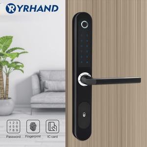 Image 5 - Cerradura electrónica Digital con huella dactilar, resistente al agua, para puerta de vidrio de aluminio con Euro mortaja 3585