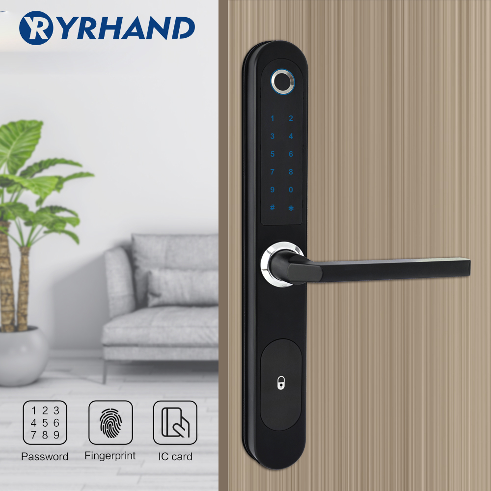 Image 5 - Waterproof  Fingerprint Lock Digital Electronic Door Lock for Aluminum Glass Door with Euro Mortise 3585Electric Lock   -