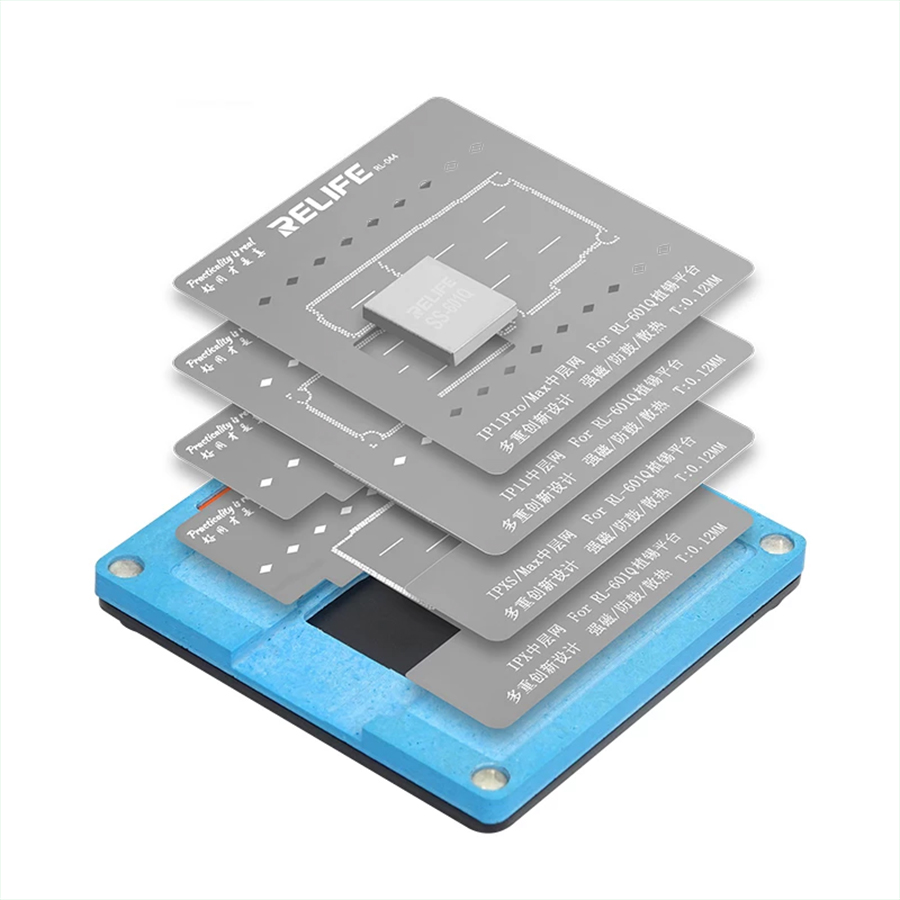 Sunshine SS-601Q 6 IN 1 Planting Tin Template Fixture for iPhone X-11Pro MAX Motherboard Middle Frame BGA Reballing Stencil Tool 6