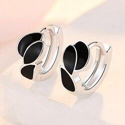XIYANIKE 925 Sterling Silver Black Zircon Leaf Hoop Earring Female Charm Fashion Wholesale Jewelry Prevent Allergy Party Brincos