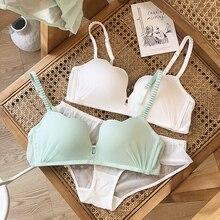 Ensemble de sous vêtements pour femmes, soutien gorge et culotte sans couture, Push Up, Lingerie, couleur pure, vert blanc, intimes pour femmes