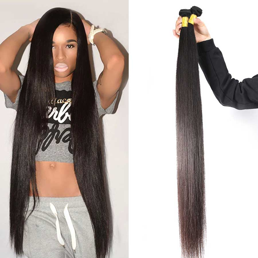 Straight Hair Bundles Brazilian Hair Weave Bundles Human Hair 3 4 Bundles Deals <font><b>30</b></font> <font><b>32</b></font> 34 <font><b>36</b></font> 38 <font><b>40</b></font> Inch Remy Hair Extensions image