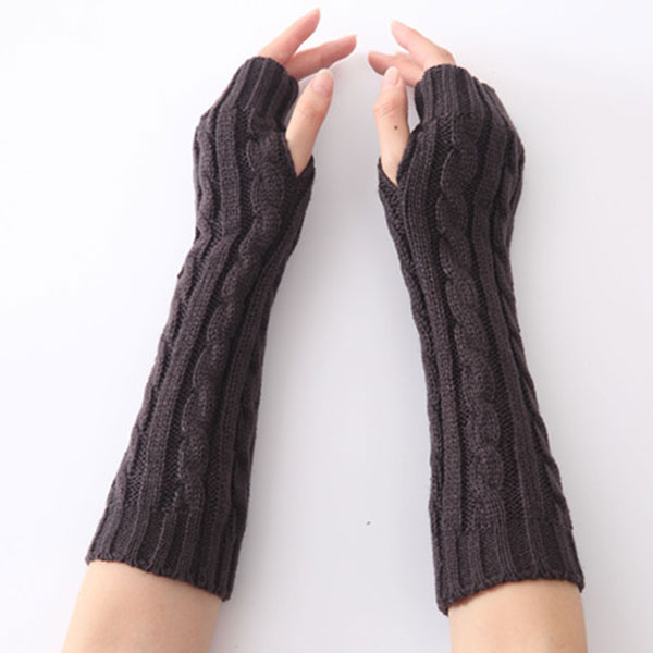 1pair Long Braid Cable Knit Fingerless Gloves Women Handmade Fashion Soft Gauntlet Practical Casual Gloves FEA889
