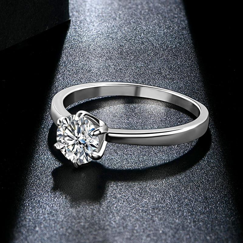 ATTAGEMS 1ct 2ct 3ct Moissanite Ring Round Brilliant Cut Diamond Test Passed Moissanite Diamond Solitaire Rings for Women 5