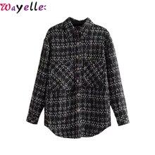 Vintage Pockets Plaid Jacket Coat Women 2019 Korean Fashion Lapel Collar Long Sleeve Ladies Outerwear Chic Loose Women Tops цена