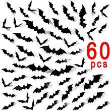 купить 60pcs DIY Halloween Decor Party Supplies PVC 3D Decorative Scary Bats Wall Sticker, Halloween Eve Decor Home Window Decoration по цене 325 рублей