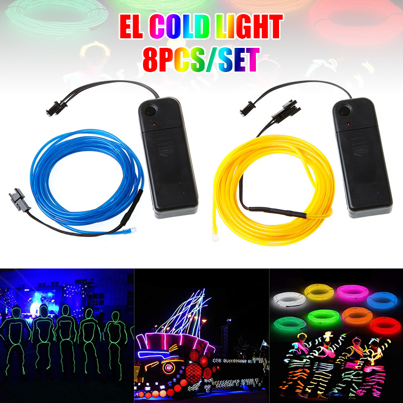 8Pcs/set Multi-Colors EL Wire Neon Rope Lights Blue Red White Green Pink Lemon for Halloween Christmas Party DIY Decoration J8