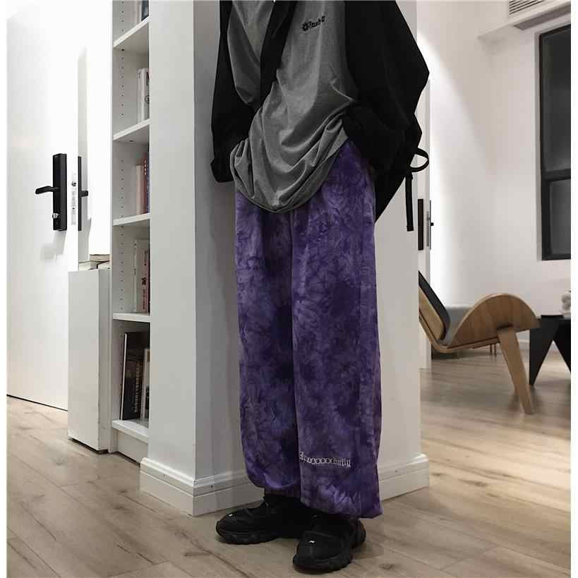Cintura elástica de nicemix solto harem bordado gravata corante contraste jogger pant homem streetwear coreano harajuku punk hip hop